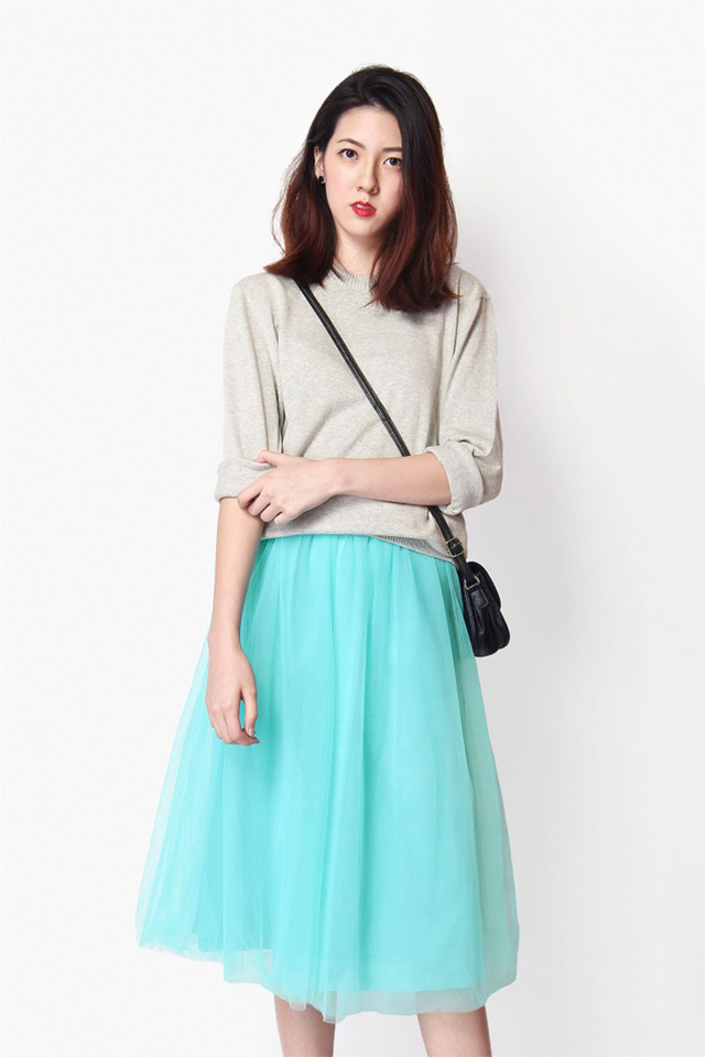 CLOUD NINE TULLE MIDI SKIRT IN TIFFANY