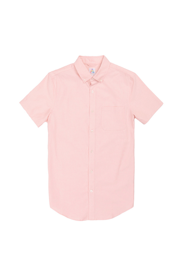 DYLAN SHORT SLEEVE OXFORD SHIRT IN PINK