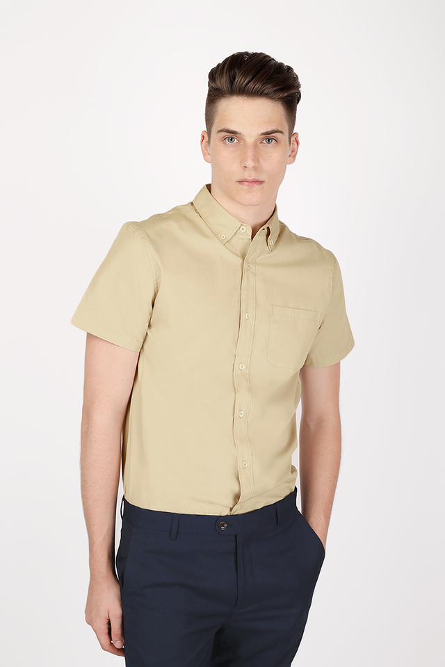 DYLAN SHORT SLEEVE POPLIN SHIRT IN BEIGE
