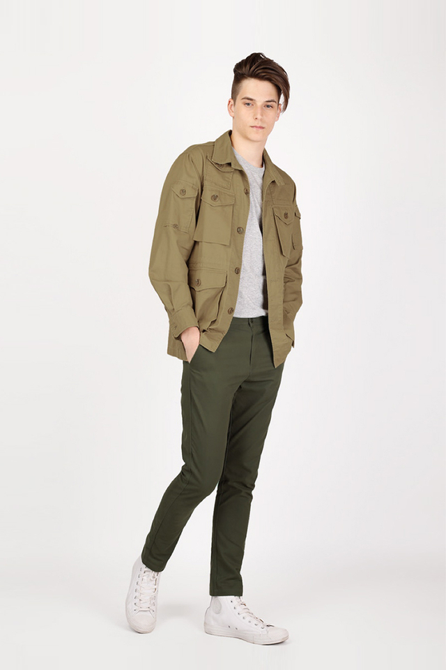 PARKER SLIM-FIT CHINOS IN OLIVE
