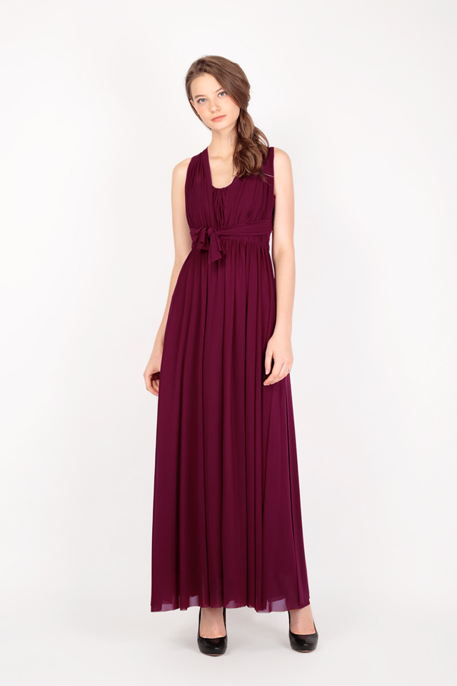 ATHENA MESH DRESS IN WINE