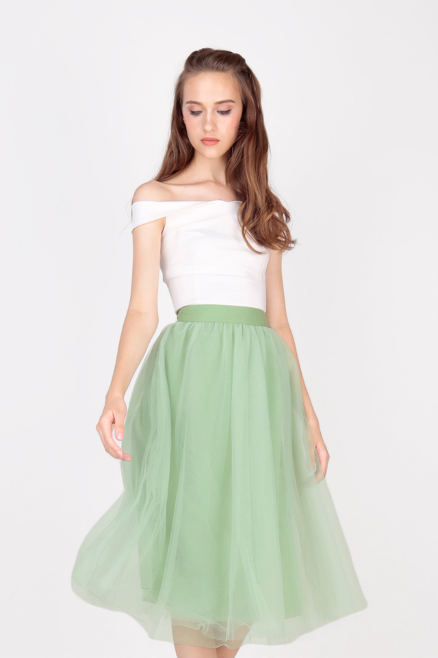 CLOUD NINE TULLE MIDI SKIRT IN OPAL GREEN