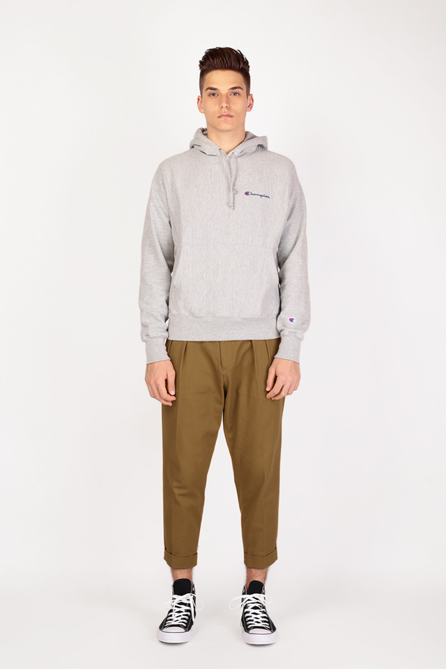 BRUSHED TWILL TAPERED TROUSERS IN CAMEL