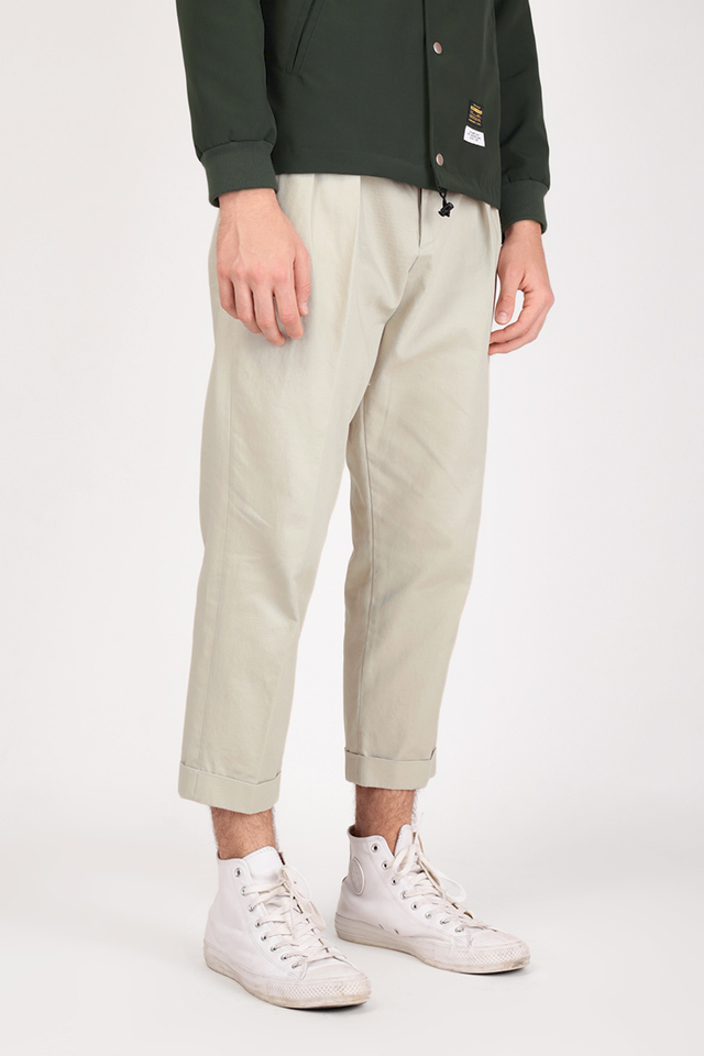 BRUSHED TWILL TAPERED TROUSERS IN CREAM