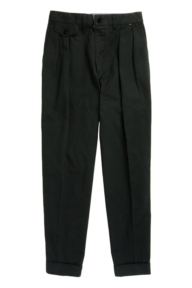 BRUSHED TWILL TAPERED TROUSERS IN MOSS BLACK