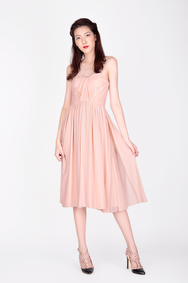 JULIETTE MESH MIDI DRESS IN BLUSH