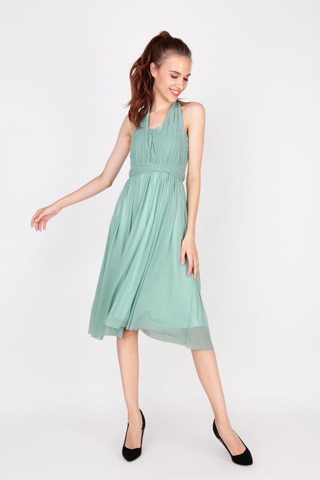 JULIETTE MESH MIDI DRESS IN WILLOW GREEN