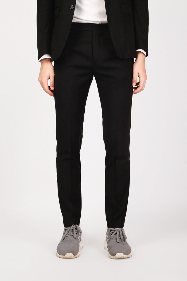 SLIM-FIT DARTED SUIT TROUSERS IN BLACK
