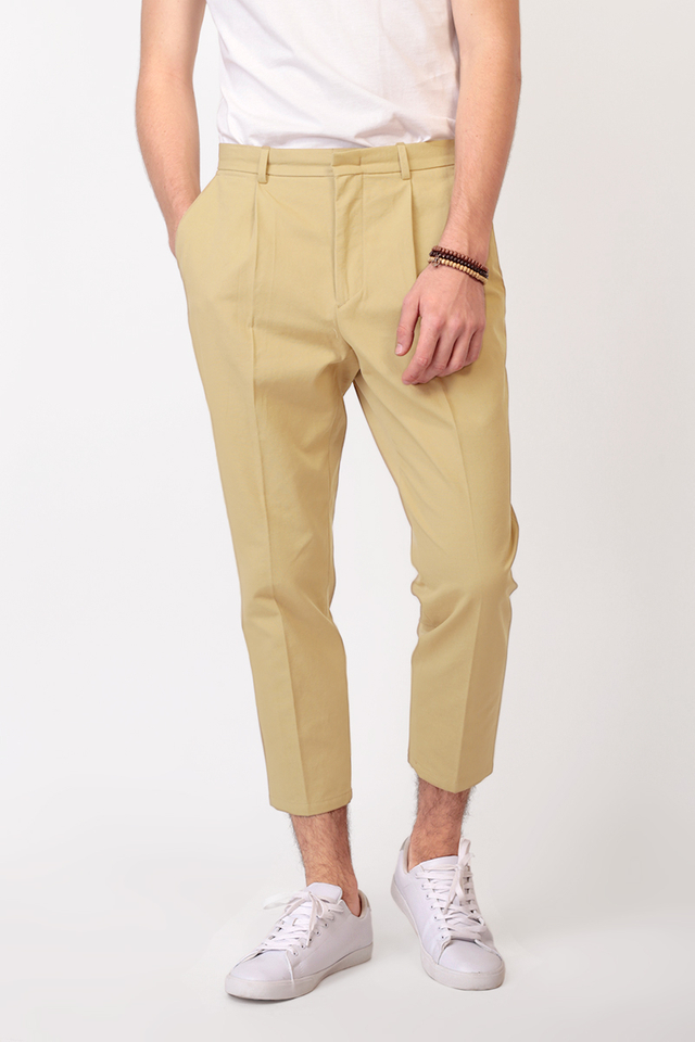 WIDE-FIT TAPERED TROUSERS IN KHAKI