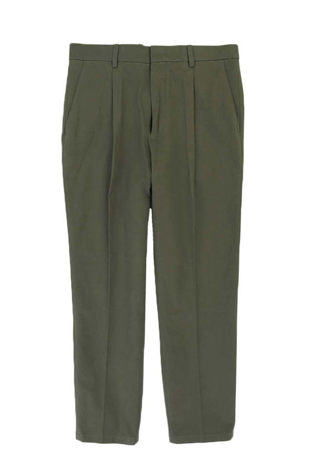 WIDE-FIT TAPERED TROUSERS IN OLIVE