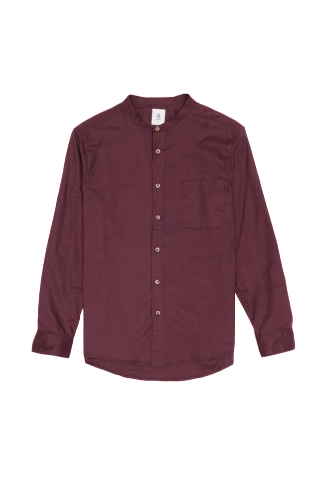 LENNON BAND COLLAR SHIRT IN BURGUNDY