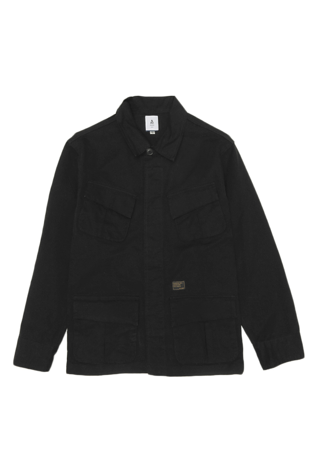 DISTRESSED UTILITY OVERSHIRT IN BLACK
