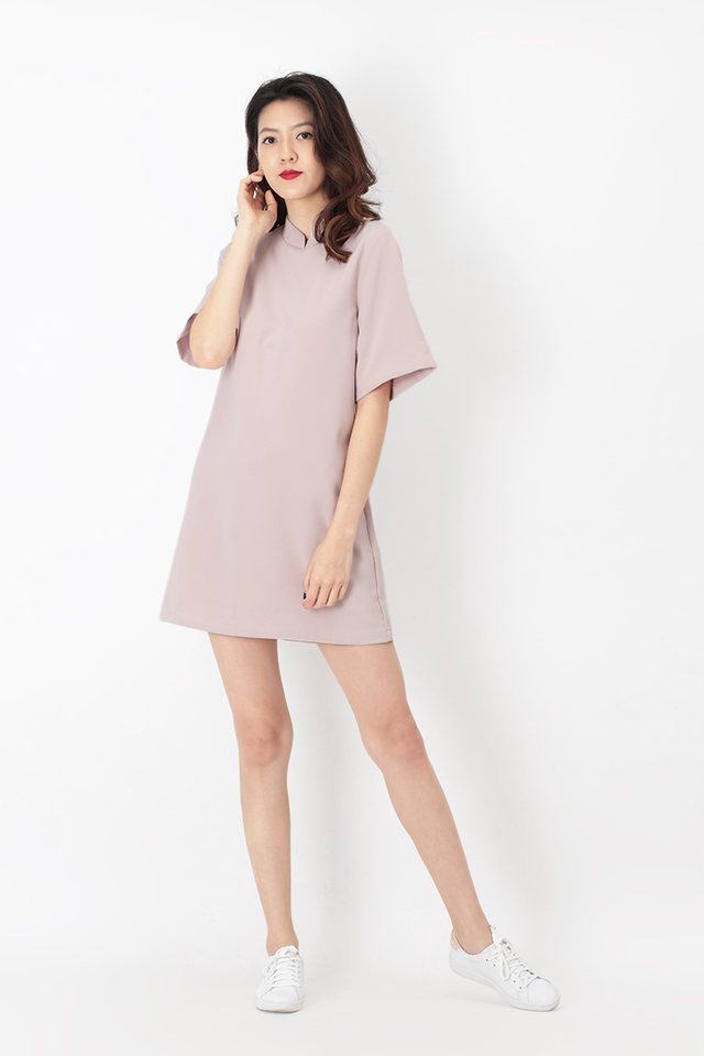 MARSHA CHEONGSAM SHIFT DRESS IN DUSTY PINK