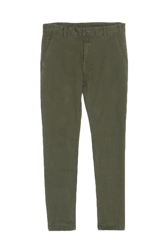 SKINNY-FIT TWILL TROUSERS IN OLIVE
