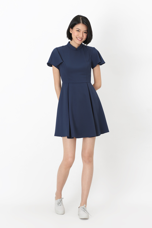 VERA CHEONGSAM FLUTTER SLEEVE DRESS IN NAVY