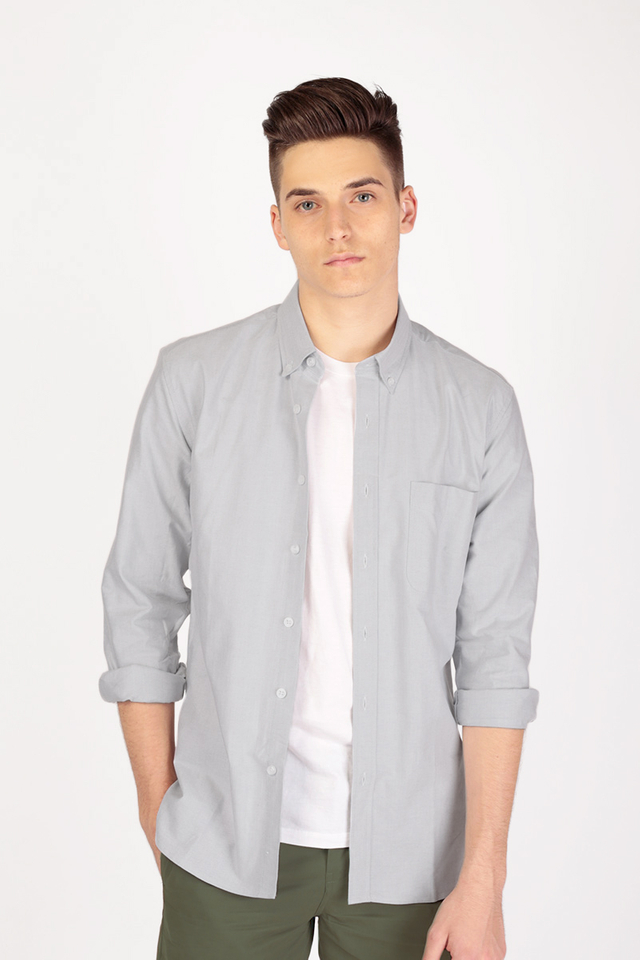 COTTON OXFORD SHIRT IN GREY