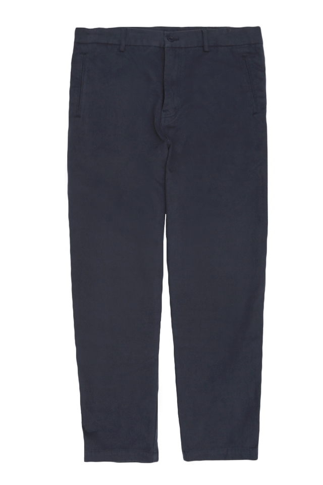 TAPERED BASKETWEAVE TROUSERS IN NAVY