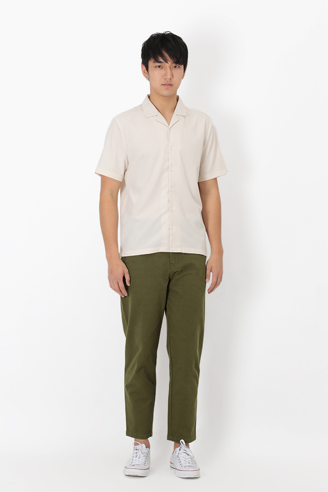 TAPERED BASKETWEAVE TROUSERS IN OLIVE