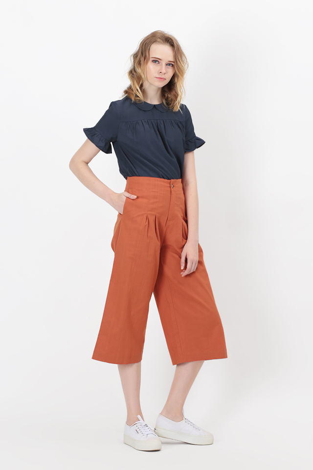 ASHER LINEN CULOTTES IN MARMALADE