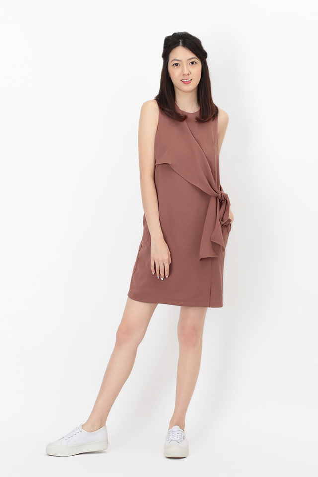 JODIE SIDE TIE DRESS IN DUSTY ROSE