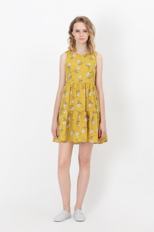 RUTH FLORAL TIER TANK DRESS IN HONEY