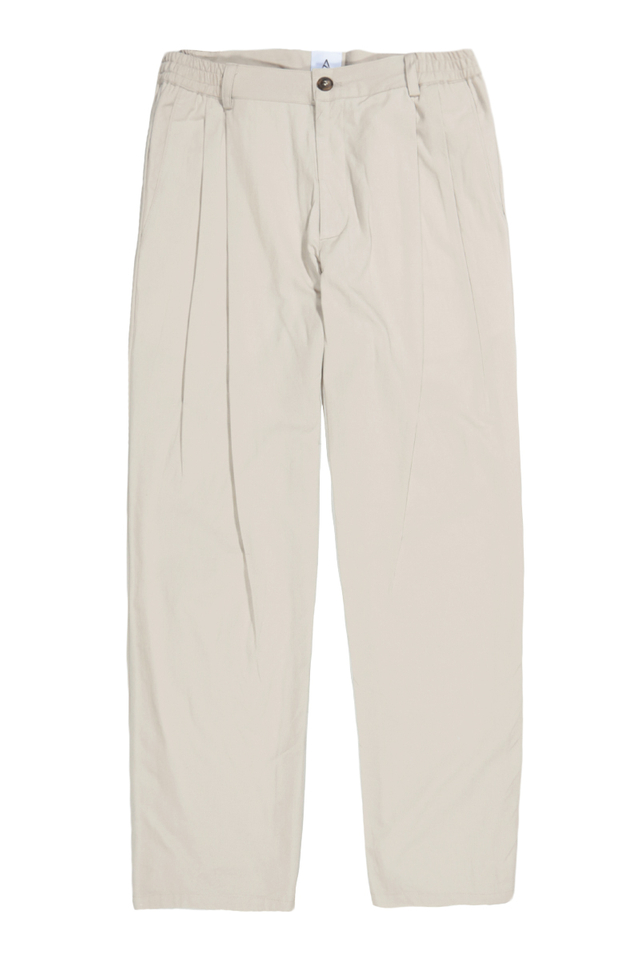 WIDE-FIT PLEATED TROUSERS IN STONE