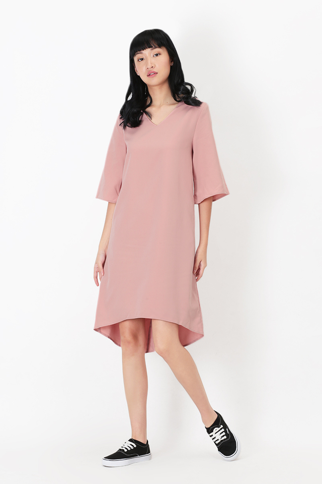 CLARA MIDI DRESS IN FRENCH PINK