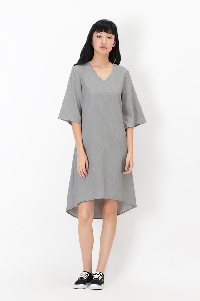 CLARA MIDI DRESS IN SUIT GREY