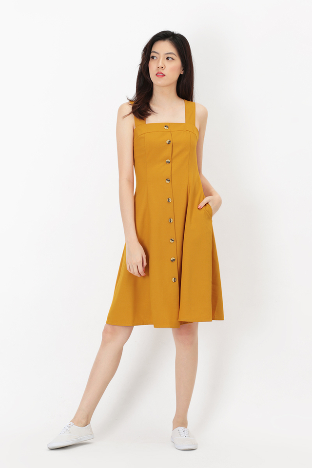 LINETTE BUTTON DRESS IN HONEY