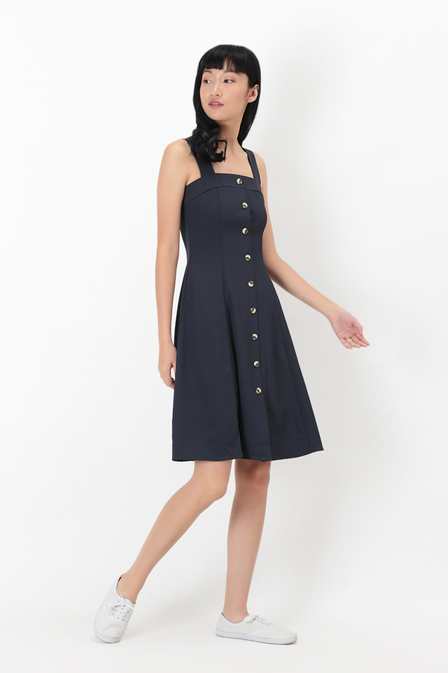 LINETTE BUTTON DRESS IN NAVY