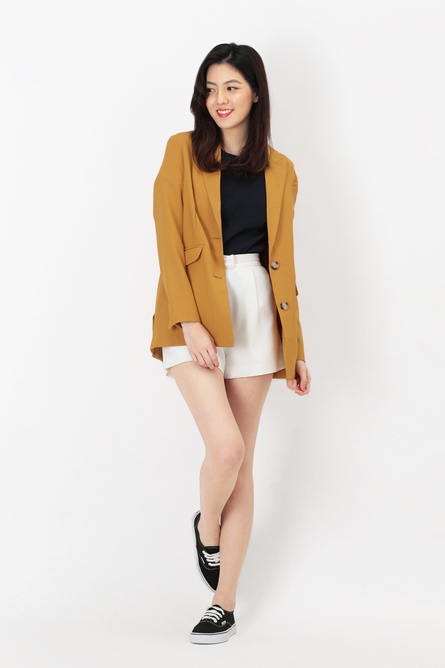 SIENNA BUTTON BLAZER IN MUSTARD