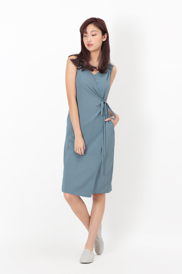 THEA GRECIAN TIE DRESS IN DUSK BLUE