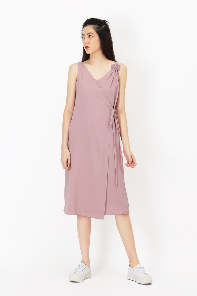 THEA GRECIAN TIE DRESS IN PINK