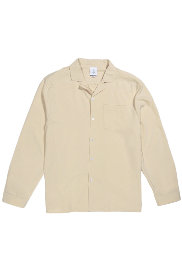 WESLEY LONG SLEEVE CAMP COLLAR SHIRT IN CREAM
