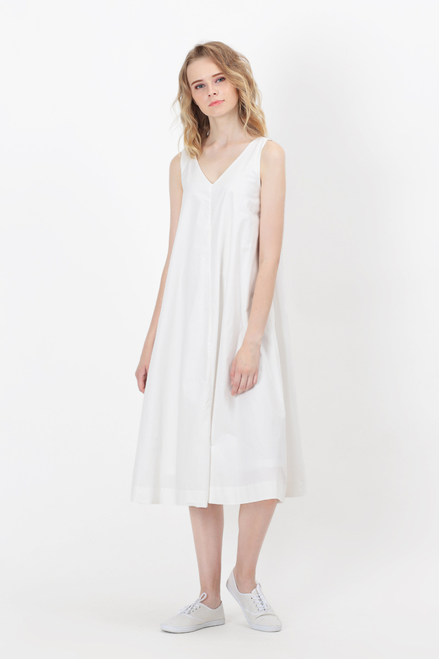 WILLOW V-NECK FLARE DRESS IN WHITE