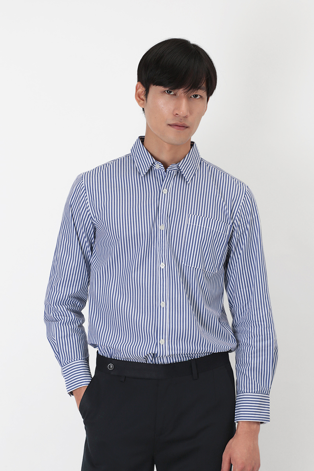 BLAKE SLIM-FIT STRIPED DRESS SHIRT IN NAVY