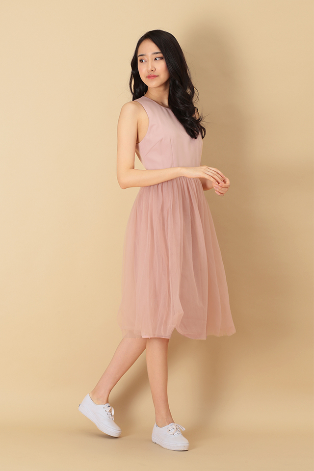 CHARLOTTE TULLE DRESS IN DUSTY PINK
