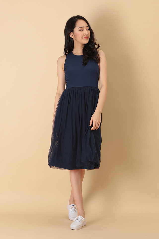 CHARLOTTE TULLE DRESS IN NAVY