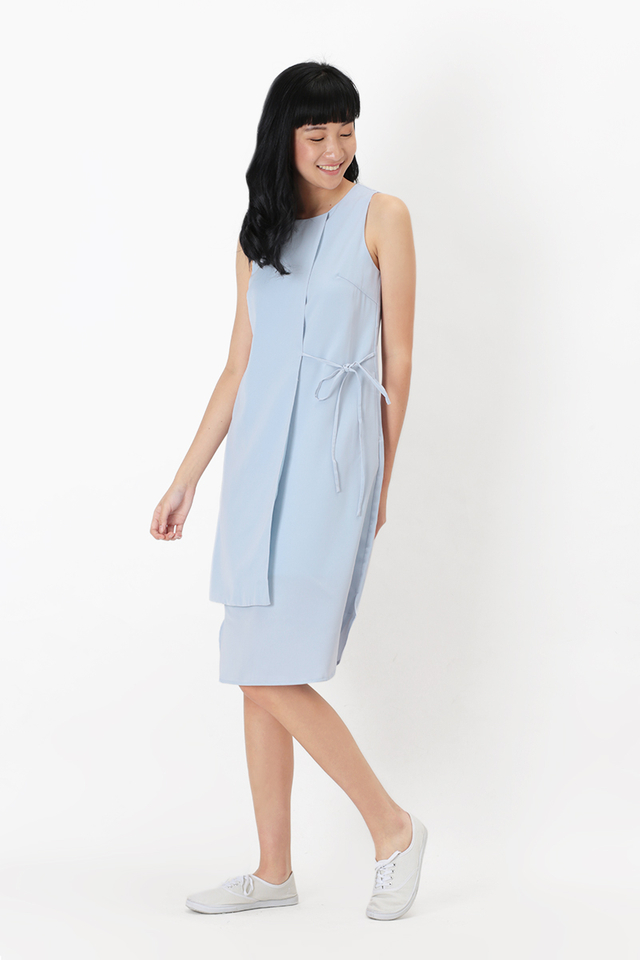 CLARISSA SIDE TIE DRESS IN POWDER BLUE