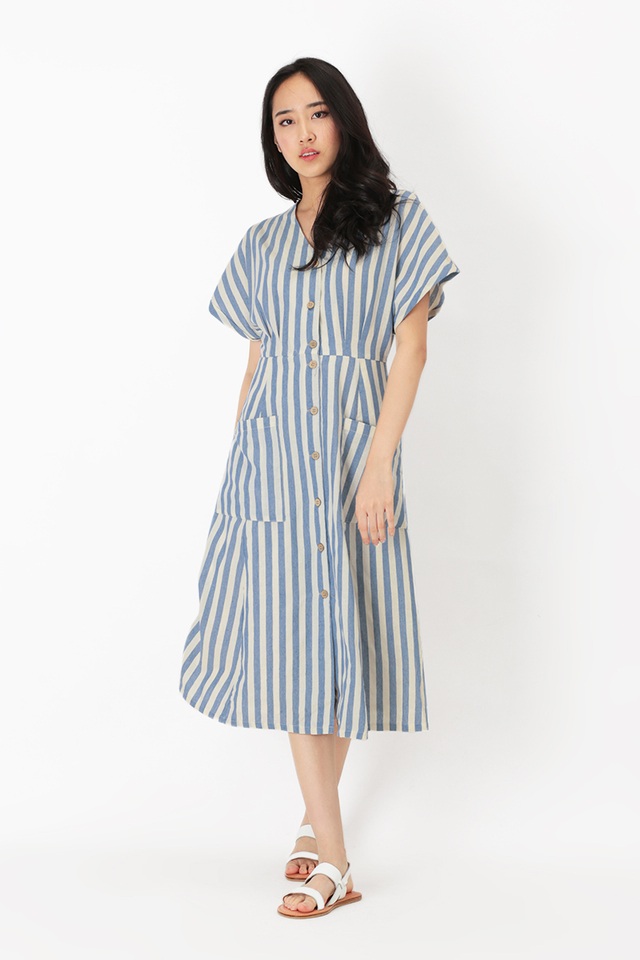 KELLY STRIPED POCKET DRESS IN BLUE