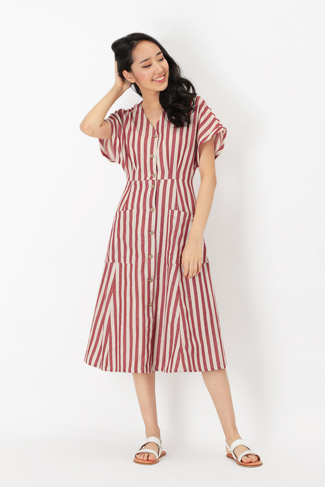 KELLY STRIPED POCKET DRESS IN RED