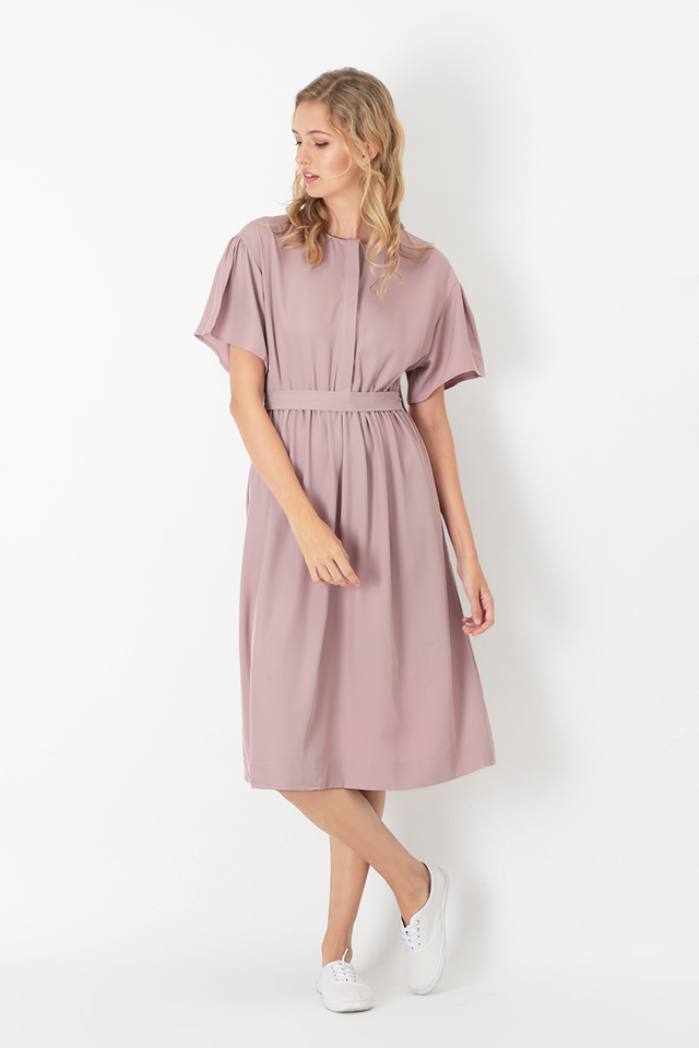 LAYLA RUCH MIDI DRESS IN MELLOW PINK