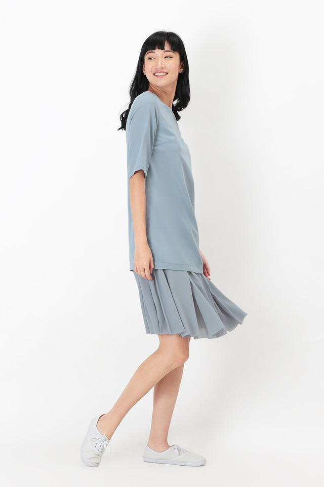 LUCILLE CHIFFON DROP HEM DRESS IN PALE BLUE