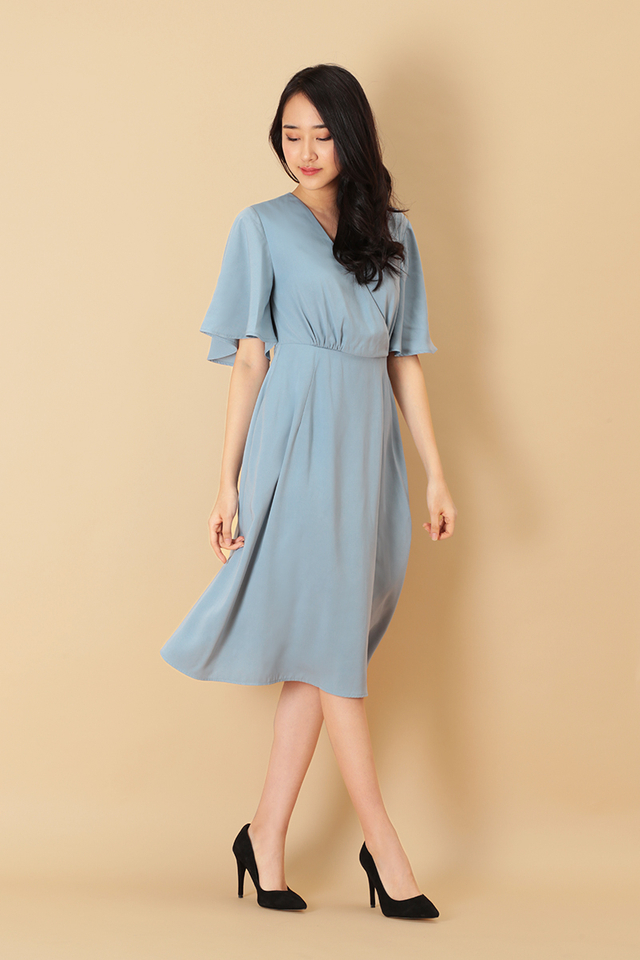 MEGHAN FLARE SLEEVE DRESS IN DUSK BLUE