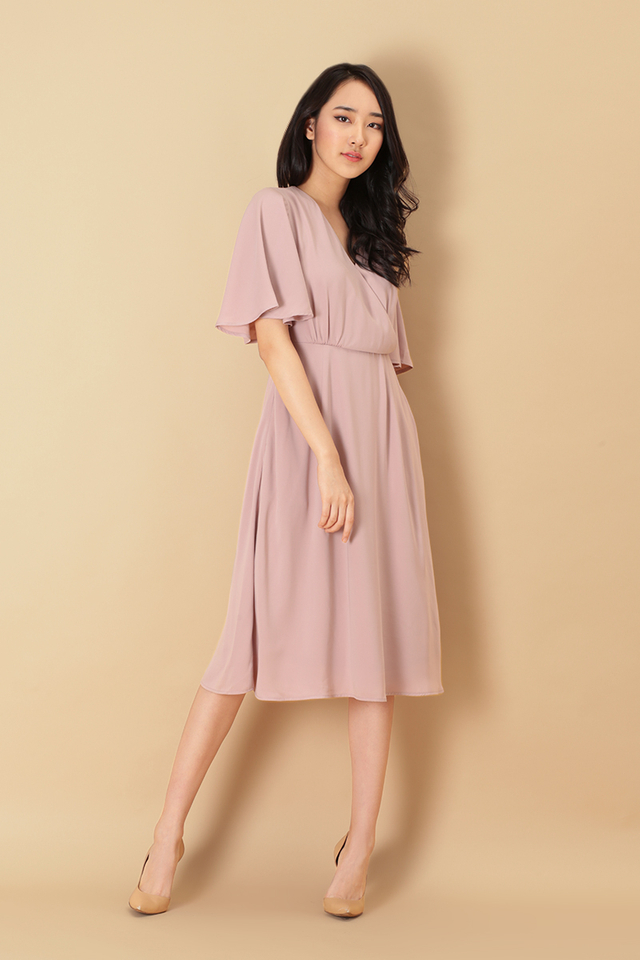 MEGHAN FLARE SLEEVE DRESS IN DUSTY PINK