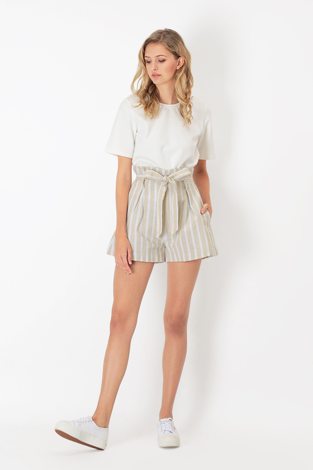 AUBREE STRIPE PAPERBAG SHORTS IN CREAM