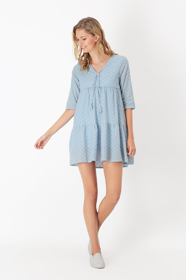 CALISTA EYELET DRESS IN POWDER BLUE