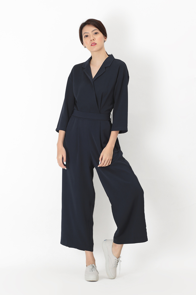 JAYME COLLAR JUMPSUIT IN NAVY