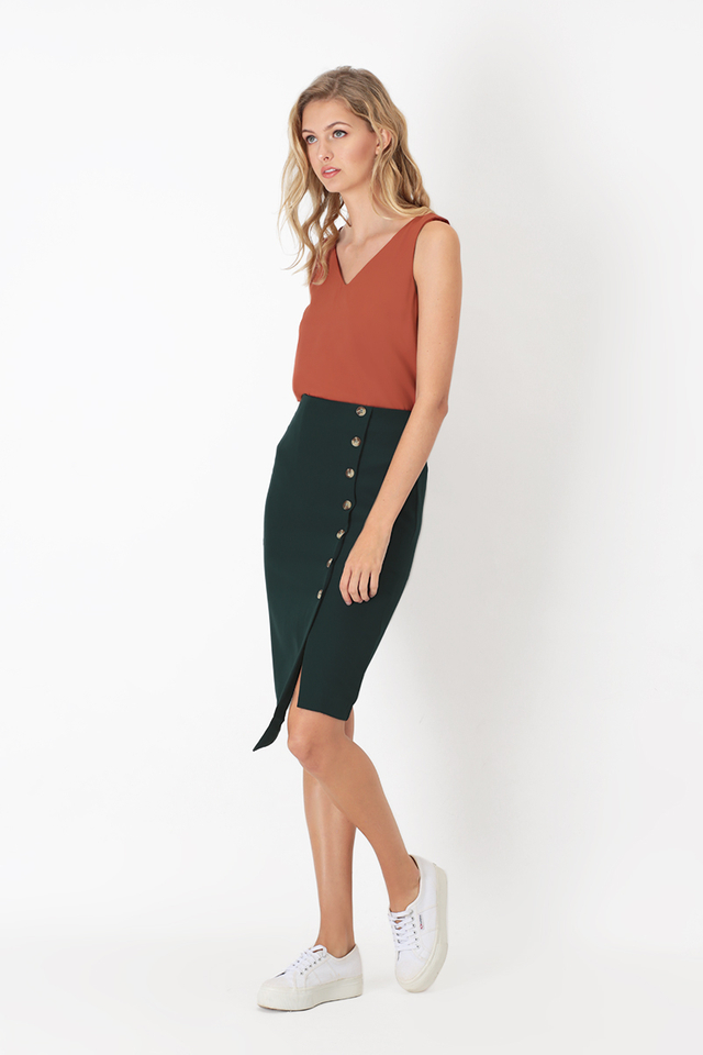 LEONA BUTTON PENCIL SKIRT IN FOREST