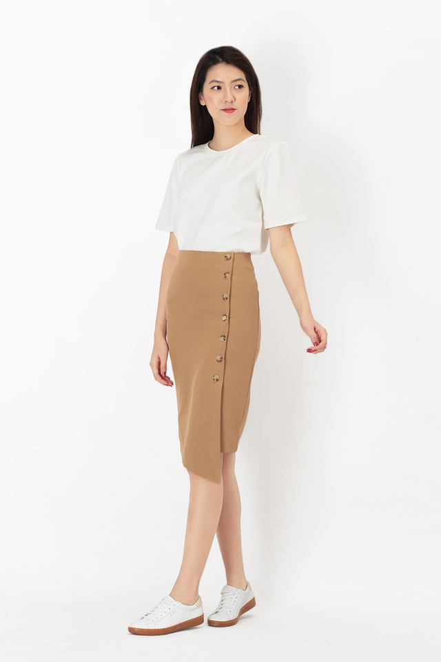 LEONA BUTTON PENCIL SKIRT IN KHAKI